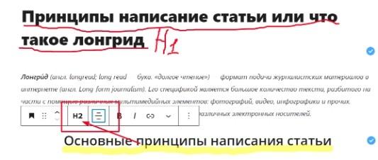 Правила написания статьи Н1;Н2